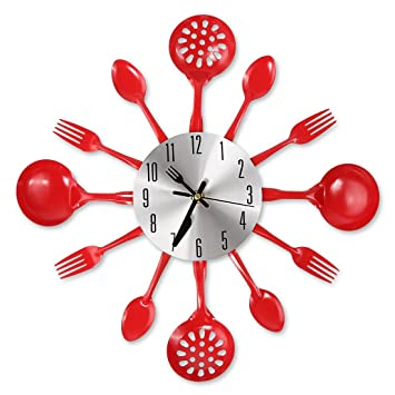 "Amazon.Com: Cigera 14"" Kitchen Cutlery Wall Clock With Forks And"