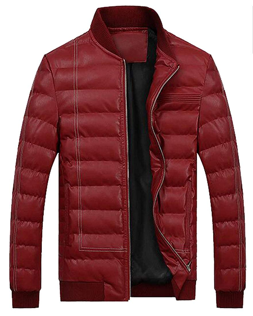 XiaoTianXinMen XTX Mens Faux Pu Warm Winter Plain Down Quilted Coat Jacket Outwear