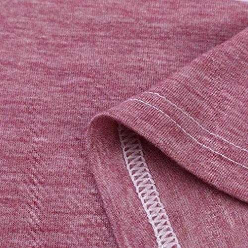 causales Rose longues shirts de Femme T col Bleu à rayures Blouses Blocs Malloom manches 2XL couleur rond Tops tnWOTnwCq