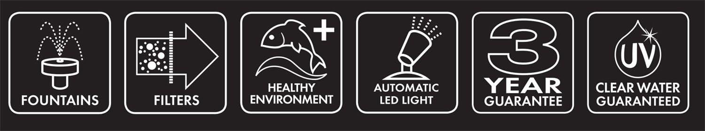 tessuto ovale Grand Moka fornito con pompa filtro Piscina con caratteristiche viventi di Blagdon Affinity con chiarificatore UV faretto a LED e tre attraenti testine con fontana