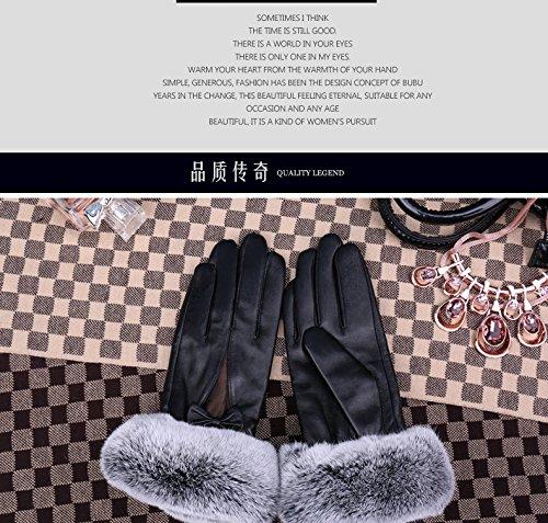 Generic Leather_ glove gloves women _sheepskin_ glove gloves ,_rabbit hair Bow Tie Korean_style_of lovely _warm_plus_velvet_thick_ leather glove gloves women girls winter