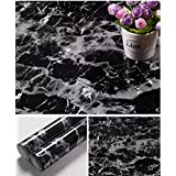 Yancorp Black Granite Look Marble Effect Counter Top Film Vinyl Self Adhesive Peel-Stick Wallpaper 24 X 79 inch,61cmx2m