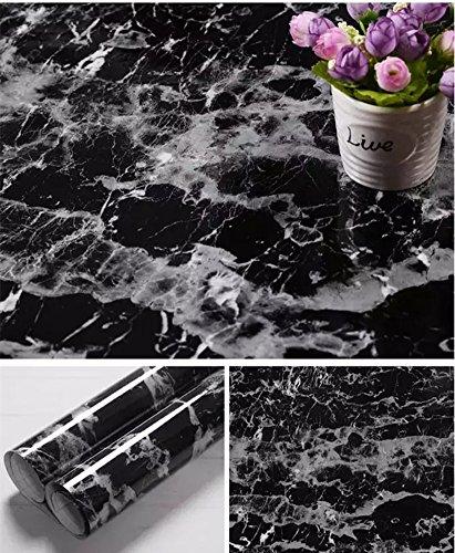 Yancorp Black Granite Look Marble Effect Counter Top Film Vinyl Self Adhesive Peel-Stick Wallpaper 24 X 79 inch,61cmx2m (Wood Kitchen Countertops)