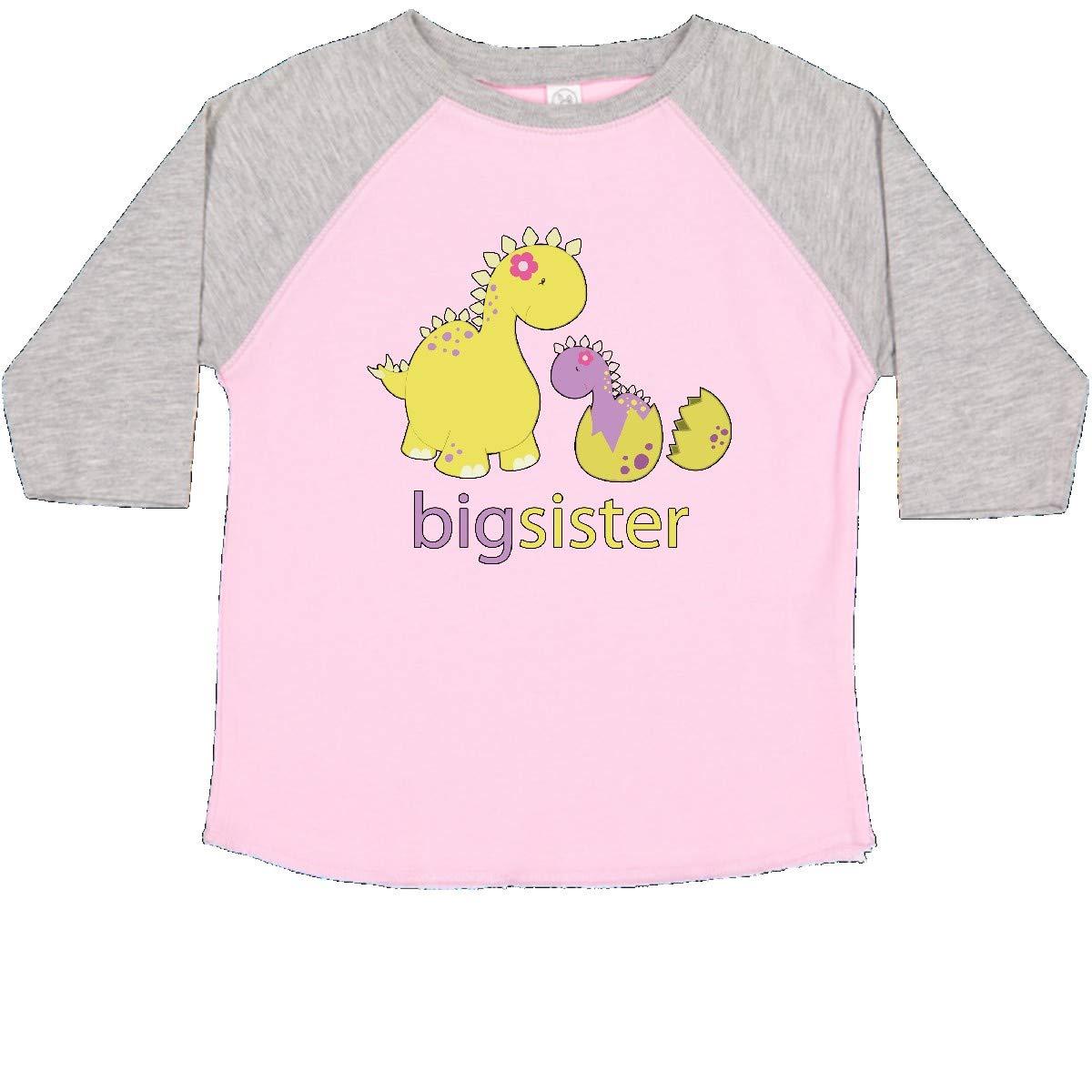 inktastic Big Sister Yellow Dinosaur Toddler T-Shirt