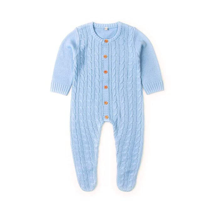 627956908 Ziyunlong Newborn Baby Girl Boy Rompers Solid Knitted Clothes (0-6M, Blue)