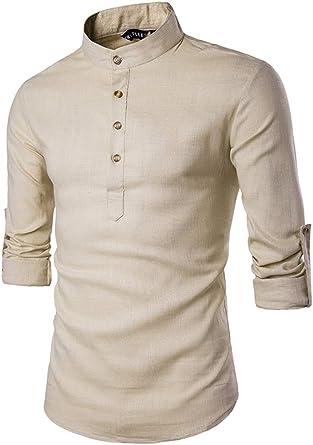 Hombres Camisas Casuales De Manga Larga Camisa De Botones De Jersey De Cuello Alto Khaki M: Amazon.es: Ropa y accesorios