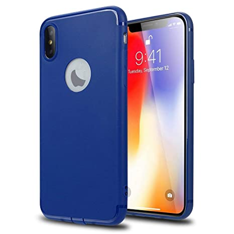 the best attitude a22dc a1ac3 Enflamo TPU Rubber Silicone Back Cover for Apple iPhone X(Navy Blue)