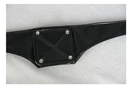 Cosplaza - Máscara de cosplay de cuero negro, con cremallera, color negro y plateado, peluca blanca: Amazon.es: Juguetes y juegos