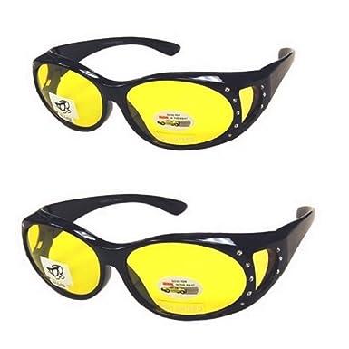 f3365bd211 2 Pair Men and Women Rhinestone Fit Over Prescription Glasses Night Driving  Sunglasses Oval - Black