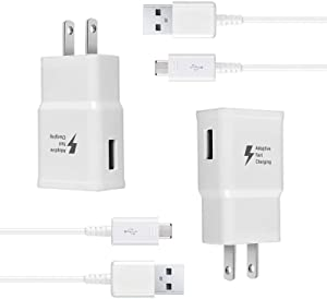 Wall Charger Kit Adaptive Fast Charge Compatible Samsung Tablet/Phone Galaxy S7 / S7 Edge / S6 / S6 Plus / A6 / J7 / J3 / Note5 4, USB 2.0 Charger Plug and Micro USB Cable (2 Pack)