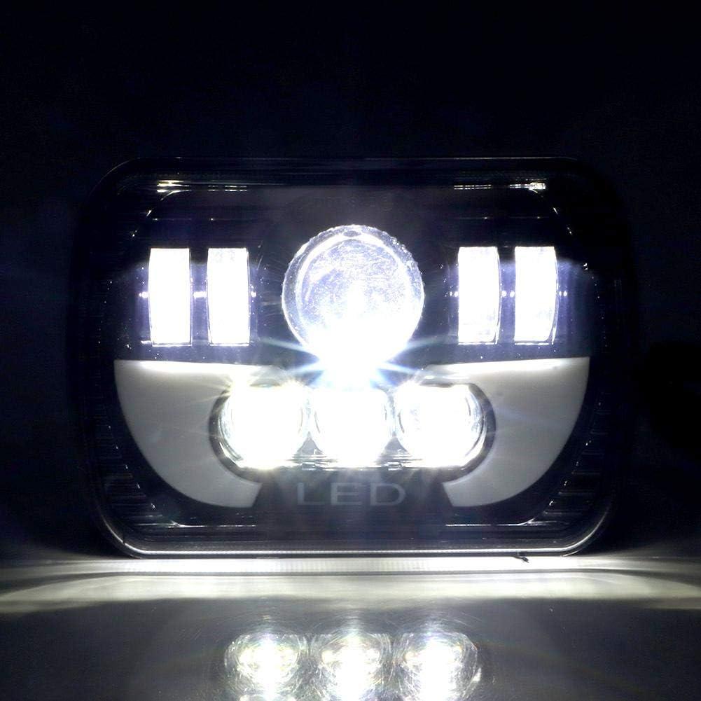 faros delanteros universales de 5x7 pulgadas faros delanteros de haz alto//bajo a prueba de agua luz cuadrada LED de 90 vatios Faros delanteros