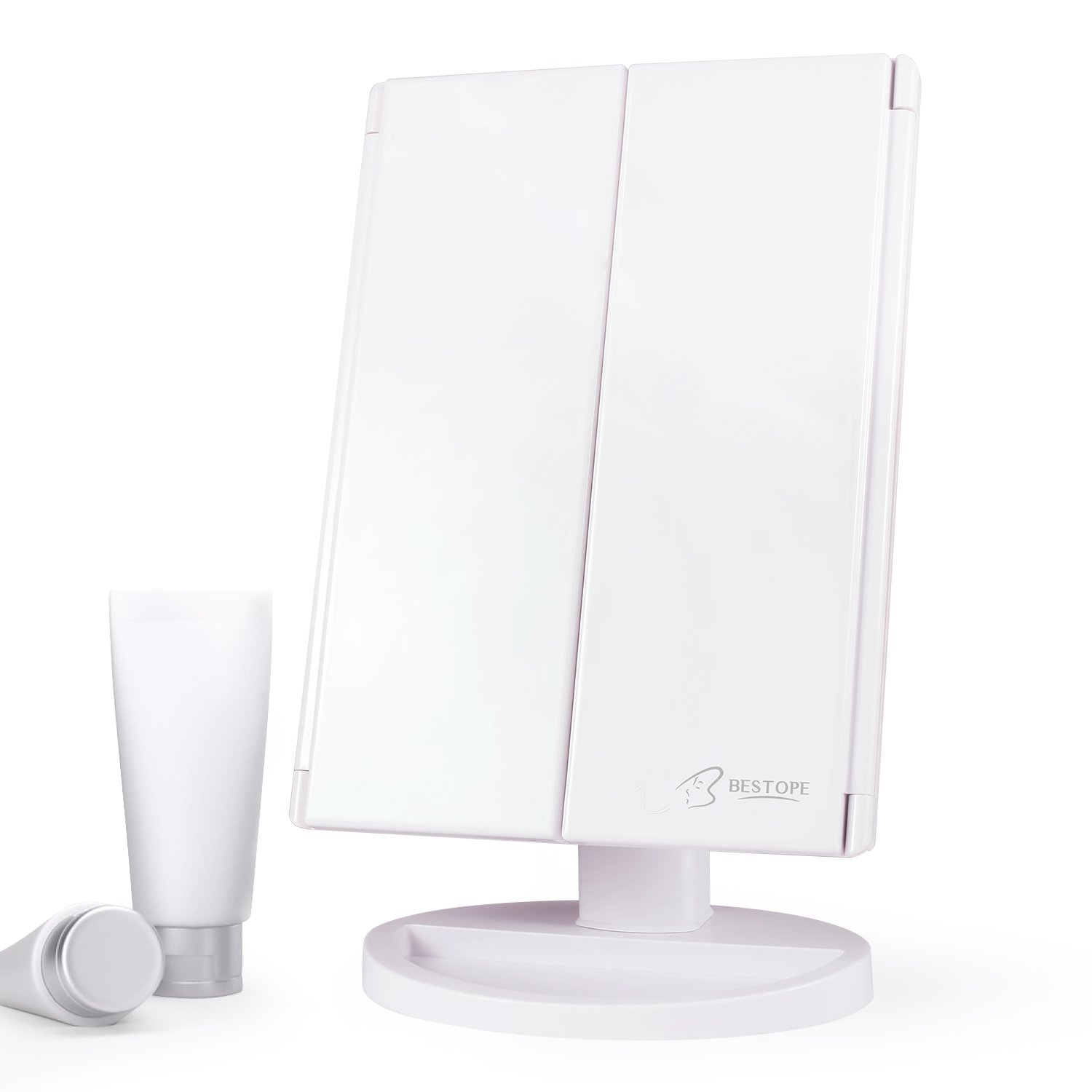 BESTOPE Makeup Vanity Mirror with 21 LED Lights 3X/2X Magnifying Touch Screen,Dual Power Supply,180° Adjustable Rotation,Countertop Cosmetic, 2 Pound by BESTOPE (Image #7)