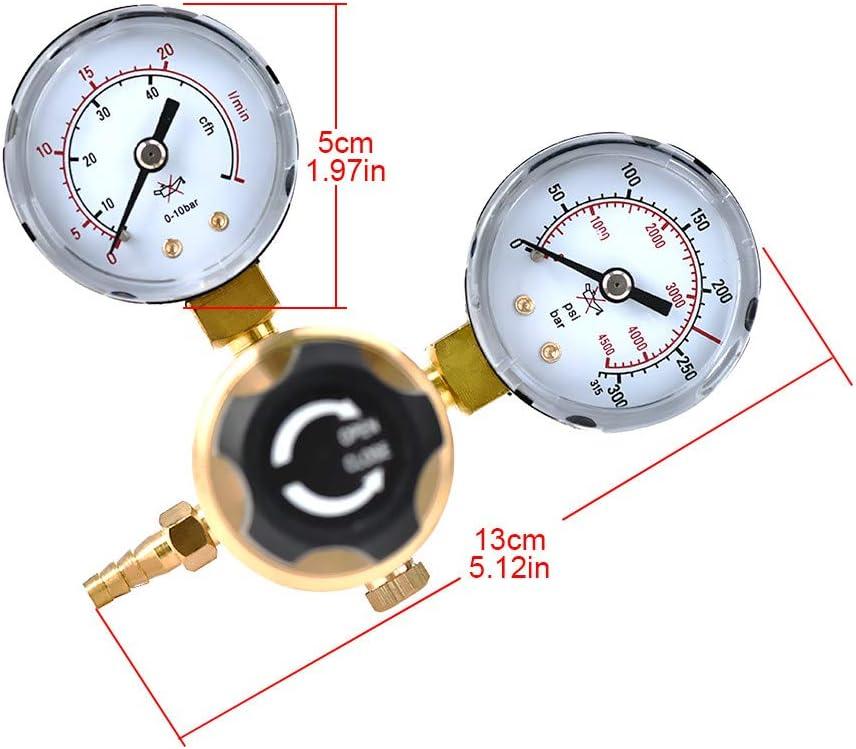 HUKOER Argon-CO2-Druckregler 0-315 bar f/ür Gasflasche mit W21.8-Auslass Mig-Tig-Schwei/ßen