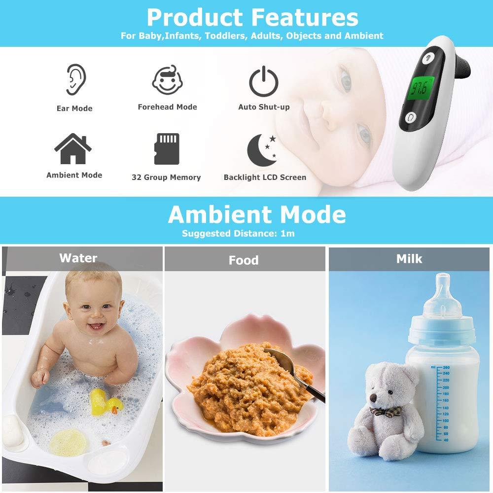 1 Sekunde Ma/ßnahme digitales Infrarot-Thermometer f/ür Babys Stirnthermometer Erwachsene Fieberalarm genehmigt Objekte und Umgebung