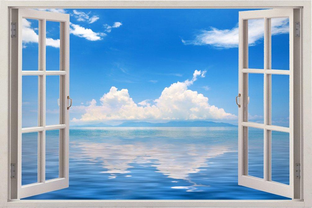 取り外し可能でリアルな大型3Dビニル製樹脂プリントウォールステッカー 青空の広がるおしゃれでユニークな窓の奥行きある海デザイン サイズ85.09 × 119.38 cm B00RKD8VNS WIN-048 WIN-048