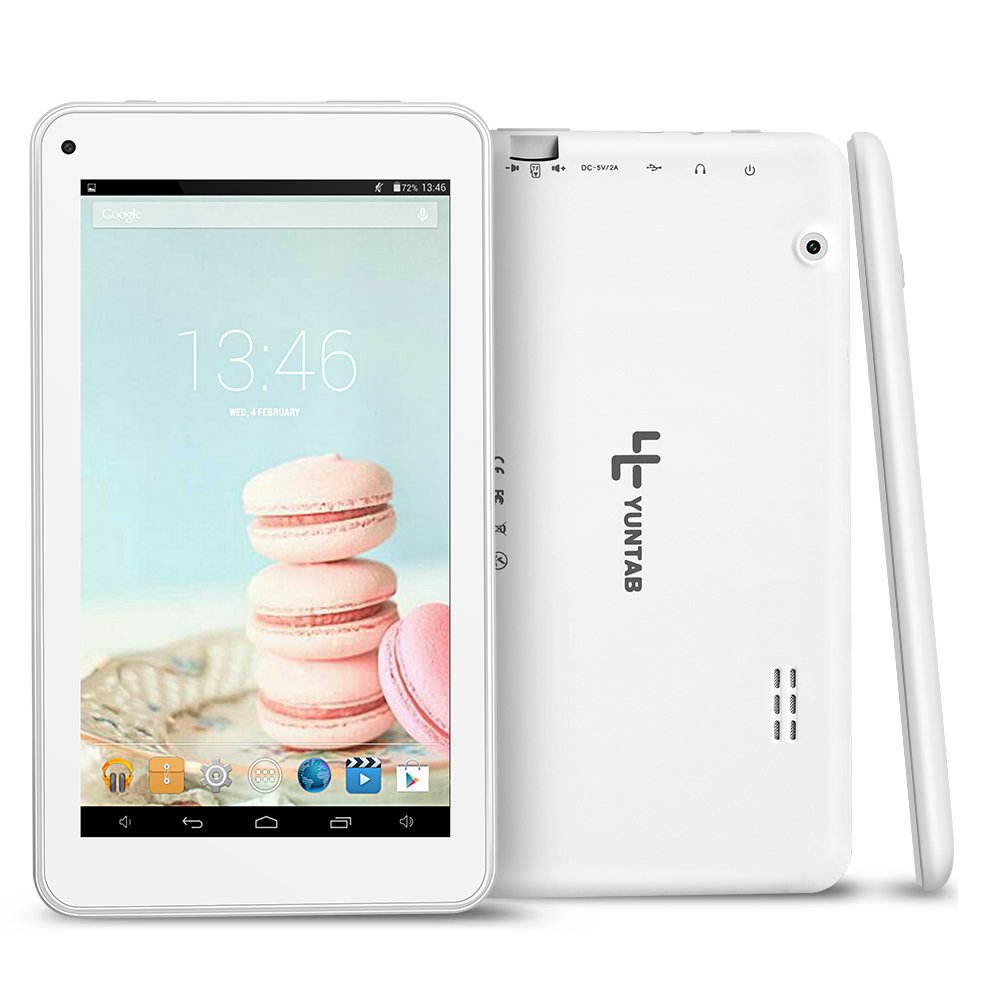 Yuntab T7 Tablet de 7 pulgadas (Procesador Quad Core,WiFi,Android 4.4.2 KITKAT,HD 1024 X 600, memoria de interna 8GB, google play Doble cámara)(blanco): ...