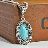 Sumanee Fashion Antique Silver Plated Turquoise Pendant Chunky Statement Bead Necklace