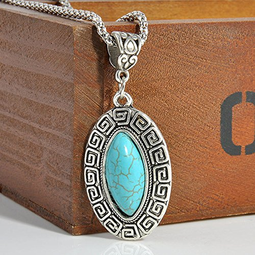 Chunky Antique Bracelet - Sumanee Fashion Antique Silver Plated Turquoise Pendant Chunky Statement Bead Necklace