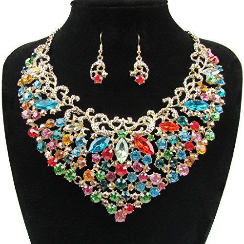 Womens Luxury Rhinestone Crystal Choker Necklace and Earring Set Bride Jewelry Set