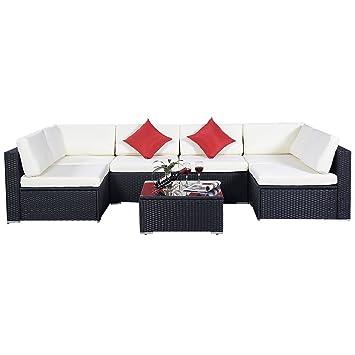 Amazon.de: 15tlg.Rattan Set Gartenmöbel Lounge Polyrattan Sitzgruppe ...