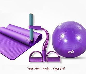 LLKOZZ Yoga Ball + Yoga Mat + Rally Thicken Balón de Gimnasia a ...