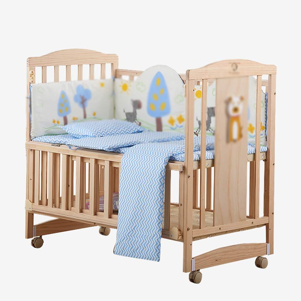 ソリッドウッドベビーベッド、スプライス大きなベッド新生児の多機能クレードルベッド子供の遊びベビーベビーコットン、104 * 61 * 96CM (サイズ さいず : 104*61*96CM) 104*61*96CM  B07LCPBS3X