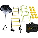 RELMON Speed Agility Training Set - Resistance Parachute, Agility Ladder with 4 Steel Stakes, Adjustable Hurdles, Disc…