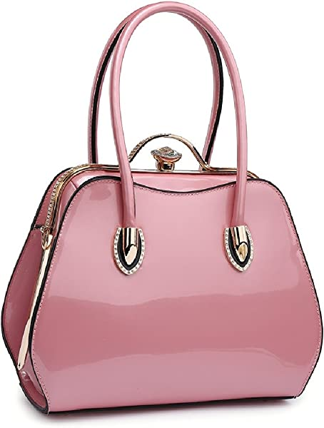 Ladies Designer Patent Diamante Clasp Bag - Women s Shoulder Grab Handbag  MA34981. Back. Double-tap to zoom 866a82d4416d7
