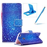 Wallet Case for Huawei P8 Lite 2017,Bookstyle Strap Portable PU Leather Flip Smart Cover for Huawei P8 Lite 2017,Herzzer Fashion Premium [Blue Glitter Sands Pattern] Magnetic Holster Card Holder Stand Leather Protective Mobile Skin with Soft Inner for Huawei P8 Lite 2017 + 1 x Free Blue Cellphone Kickstand + 1 x Free Blue Stylus Pen