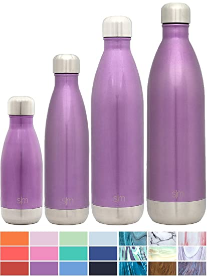 Elegant Simple Modern Stainless Steel Vacuum Insulated Double Walled Wave Bottle,  9oz   Amethyst Purple