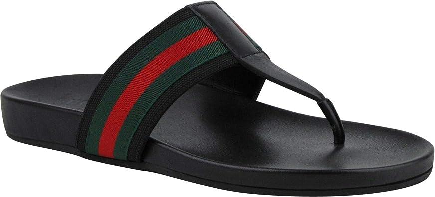 Gucci Men's Thong Sandals Black Leather