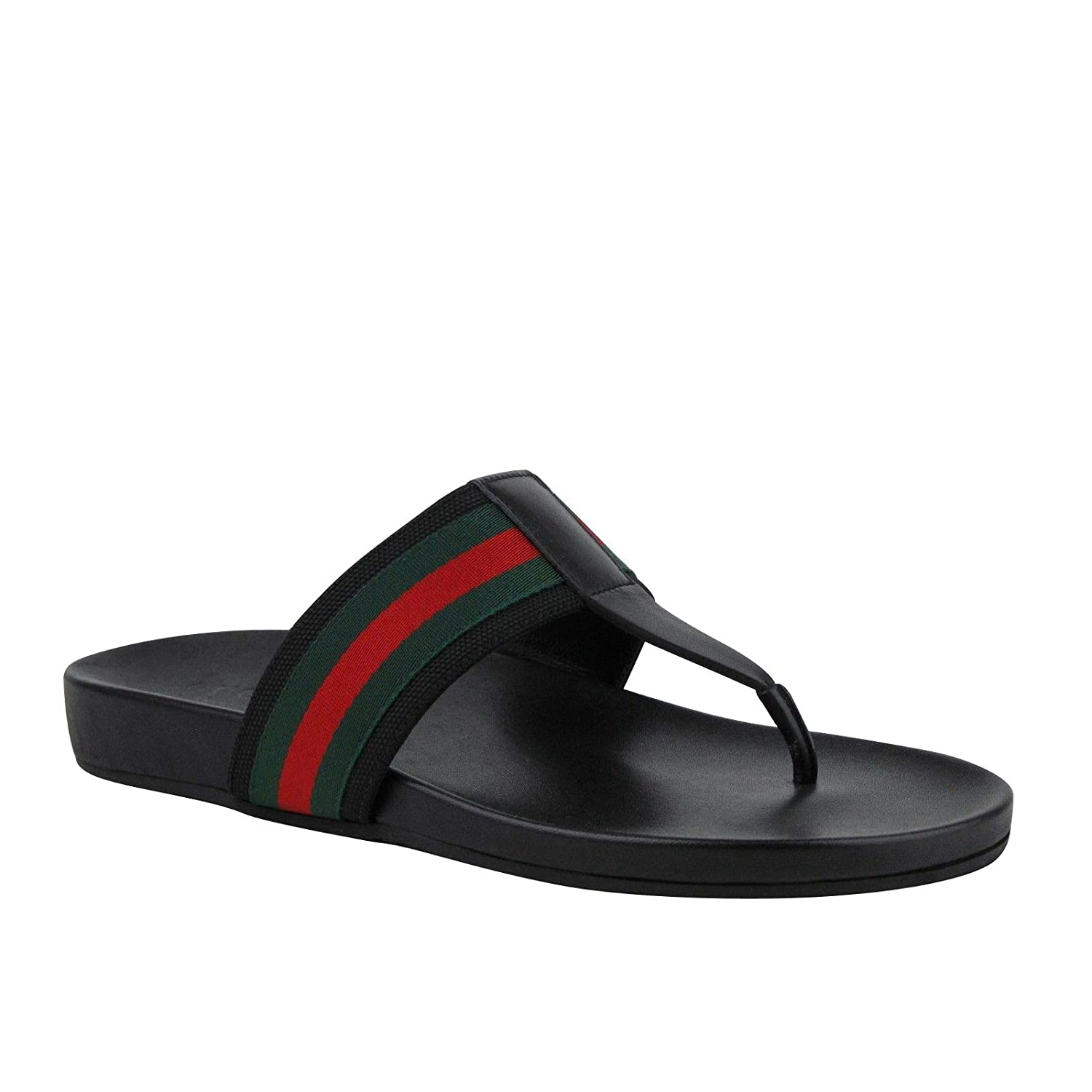 9ed583192 Amazon.com | Gucci Thong Sandals Black Leather with GRG Web Detail 386768  1069 (10.5 G / 11 US) | Sandals