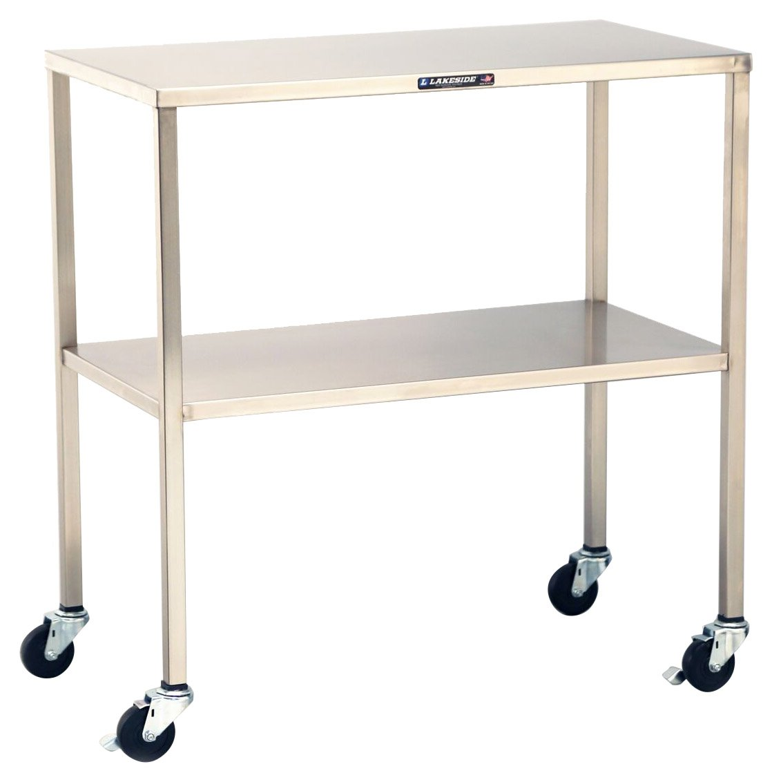 8355 Lakeside 8355 Mobile Stainless Steel Instrument Table with Shelf 33 x 18 x 34