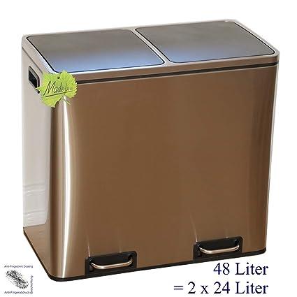 Made for us 48 L Edelstahl Tret-Abfalleimer 2x24 L Mülleimer 2-Fach  Mülltrennung 2er Müll-Trennsystem 48 Liter Abfallsammler zur  Abfall-Trennung ...