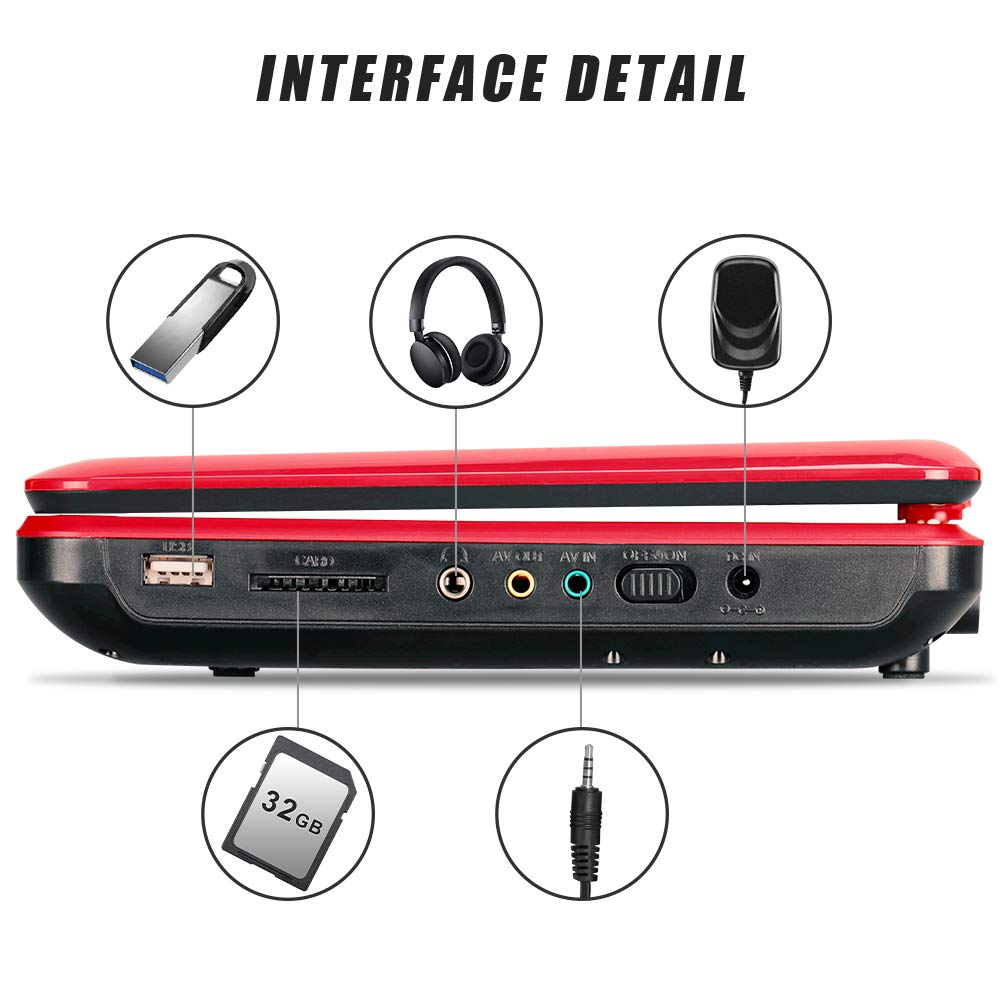 DR. J 12.5'' Portable DVD CD Player 10.5'' HD Swivel Screen with 5 Hours Rechargeable Battery, Region-Free Video Player with Remote Control and AV Cable Sync TV with Car Charger Jet Red by DR. J Professional (Image #8)