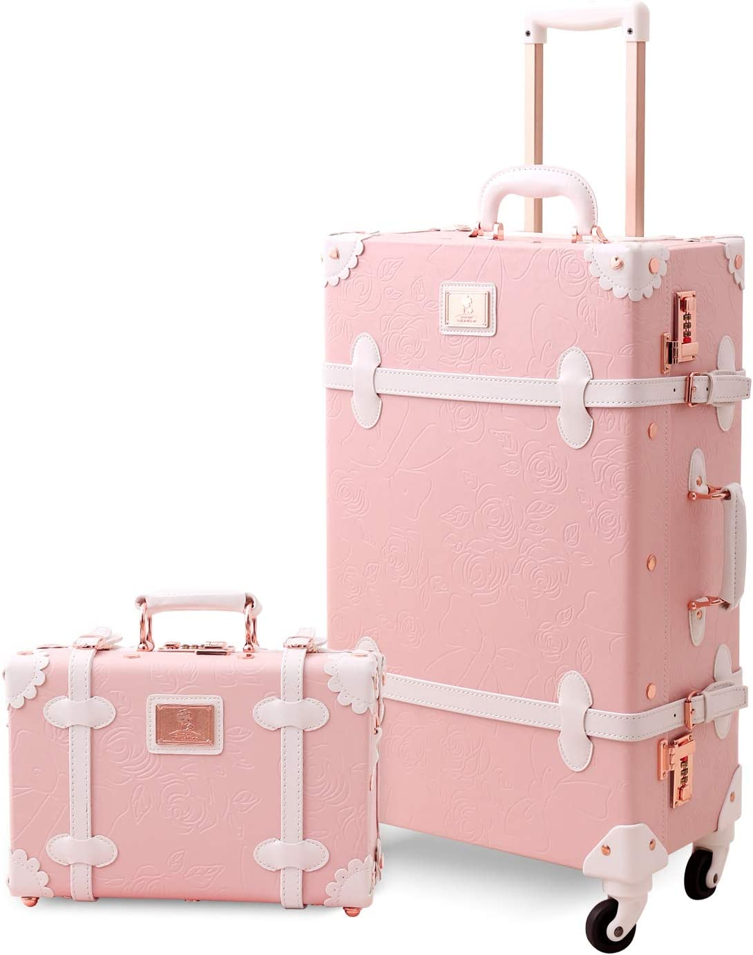 Unitravel 2 Piece Retro Suitcase Sets 20 inch PU Leather Carry on Spinner Luggage with 12 inch Vintage Train Bag for Women Embossed Pink