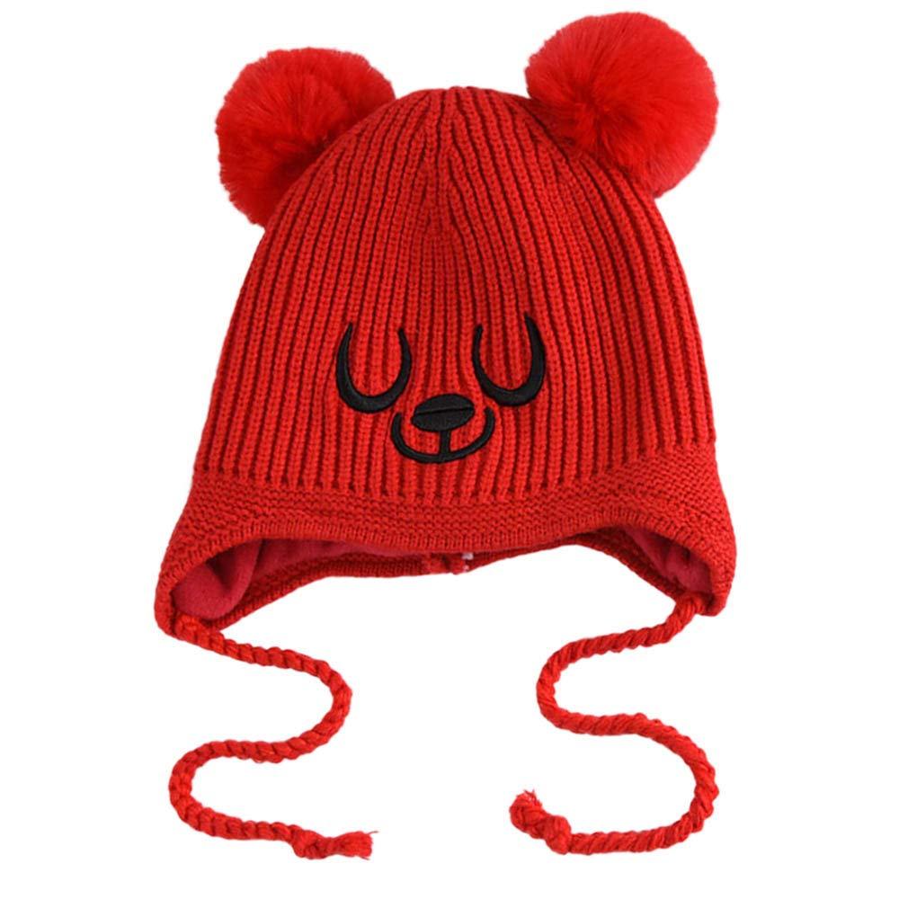 b6457755d6b Amazon.com  Lavany Baby Hats Little Boys Girls Beanie Winter Knit Earflap  Kids Cap for 1-5 Years (Black)  Clothing