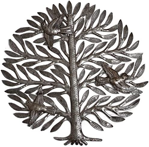 Family Tree of Life, Metal Wall Art, Haitian Home Decor, Indoor and Outdoor, Fair Trade 15 x 15 Inches Family Tree of Life