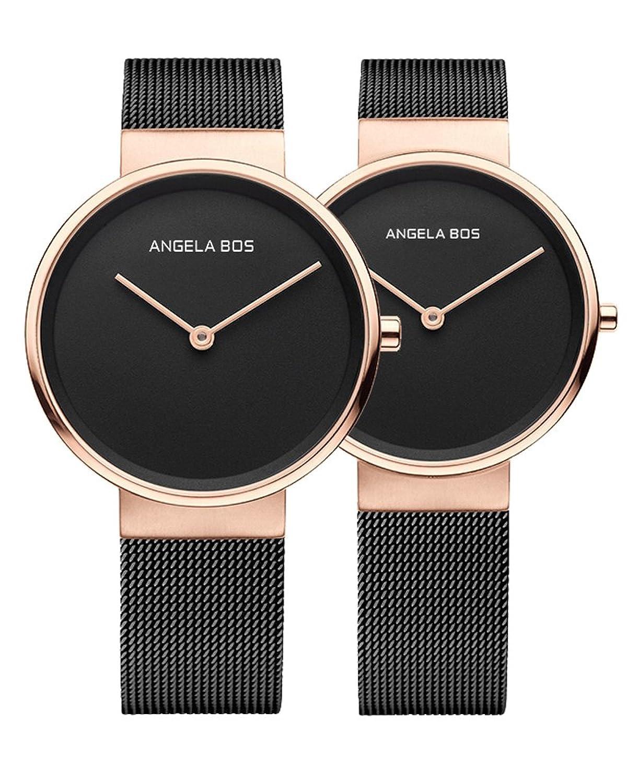 BOS Paar Uhren Ultra dÜnnen einfachen Zifferblatt Quartz Armbanduhr mit Mesh-Edelstahlband fÜr sie oder seine 8010