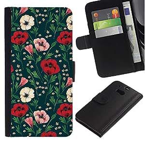 [Neutron-Star] Modelo colorido cuero de la carpeta del tirón del caso cubierta piel Holster Funda protecció Para HTC One M8 [Flores Floral Verde]