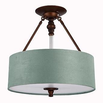 LED-Deckenleuchte Eisen Kunst Stoff Kunst Runde Lampe Rustikal ...