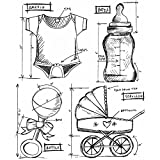 Stampers Anonymous Tim Holtz Cling Rubber Baby Blueprint Stamp Set, 7 x 8.5''