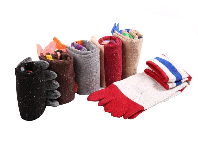 TULIPTREND Womens 6-Pack Sky Colorful Runner Toe Socks Size 6-12