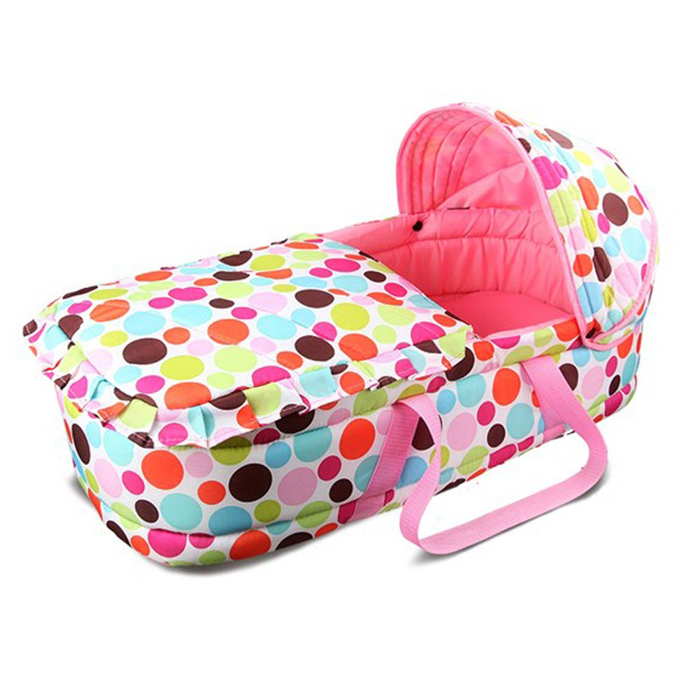 Olpchee Portable Baby Carrycot Baby Travel Bed Crib Infant Transporter Basket with Double Handle for 0-7 Months Babies (Green)