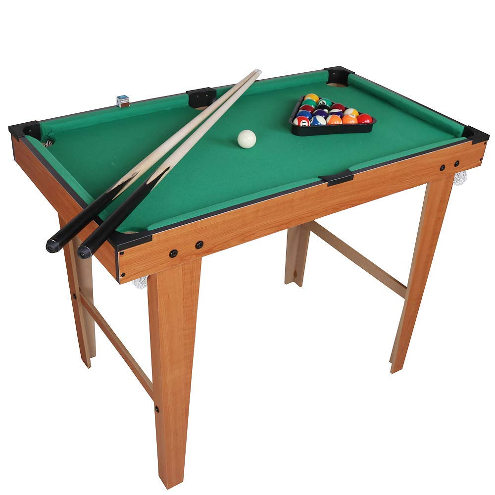 Desktop Miniature Pool Table Set with Mini Pool Balls Cue Sticks Accessories - Tabletop Toy Gaming for Men Women - Play Billiards Snooker - Home Office Desk Stress Relief Games