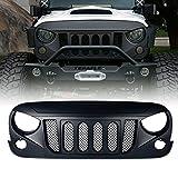 jeep wrangler grill cover - Xprite Front Matte Black Transformer Grille Grid Grill W/ Mesh Insert For Jeep Wrangler Rubicon Sahara Sport JK 2007-2018