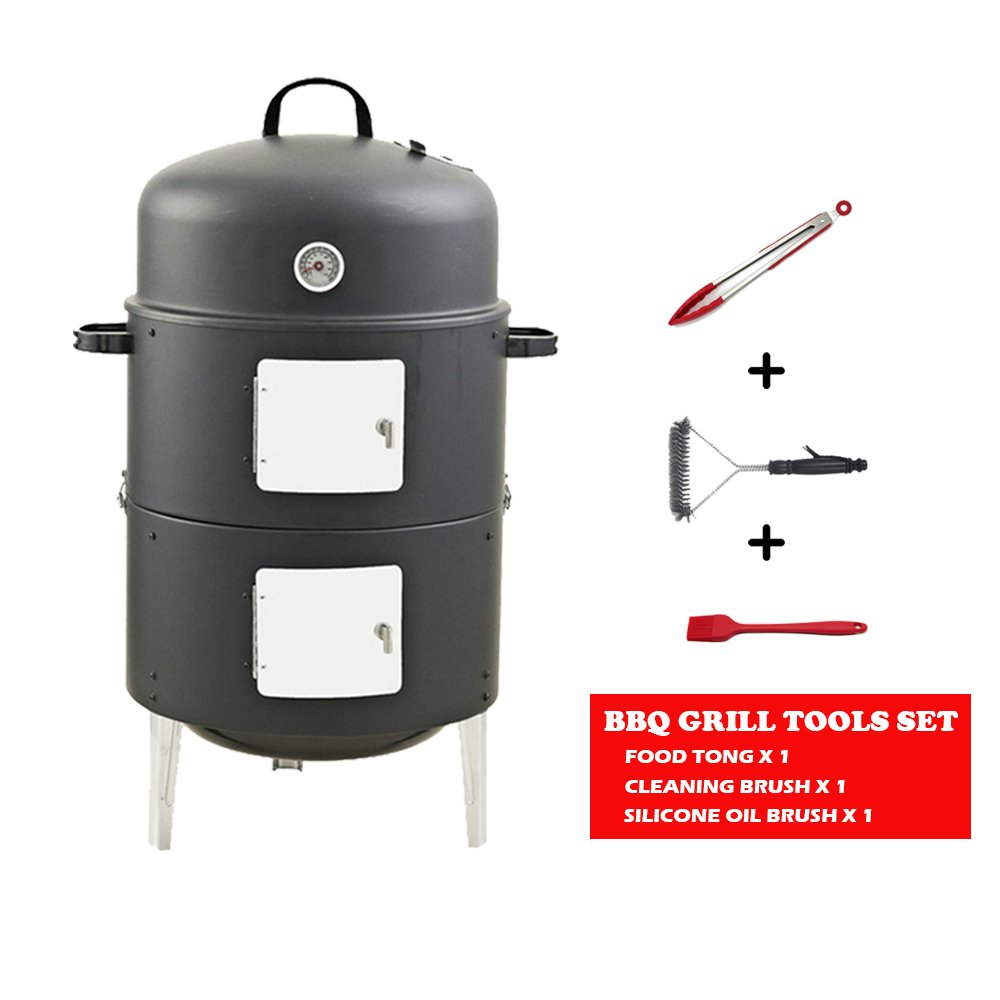 Realcook 17'' BBQ Charcoal Vertical Smoker Grill Outdoor Cooking, Black