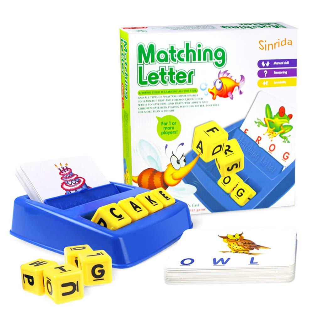 Matching Letter Game,Letter Spelling and Reading Game for Preschool Kindergarten 3 and 4 Letter Picture Word Matching Game, Educational Learning Games for Kids by Sinrida