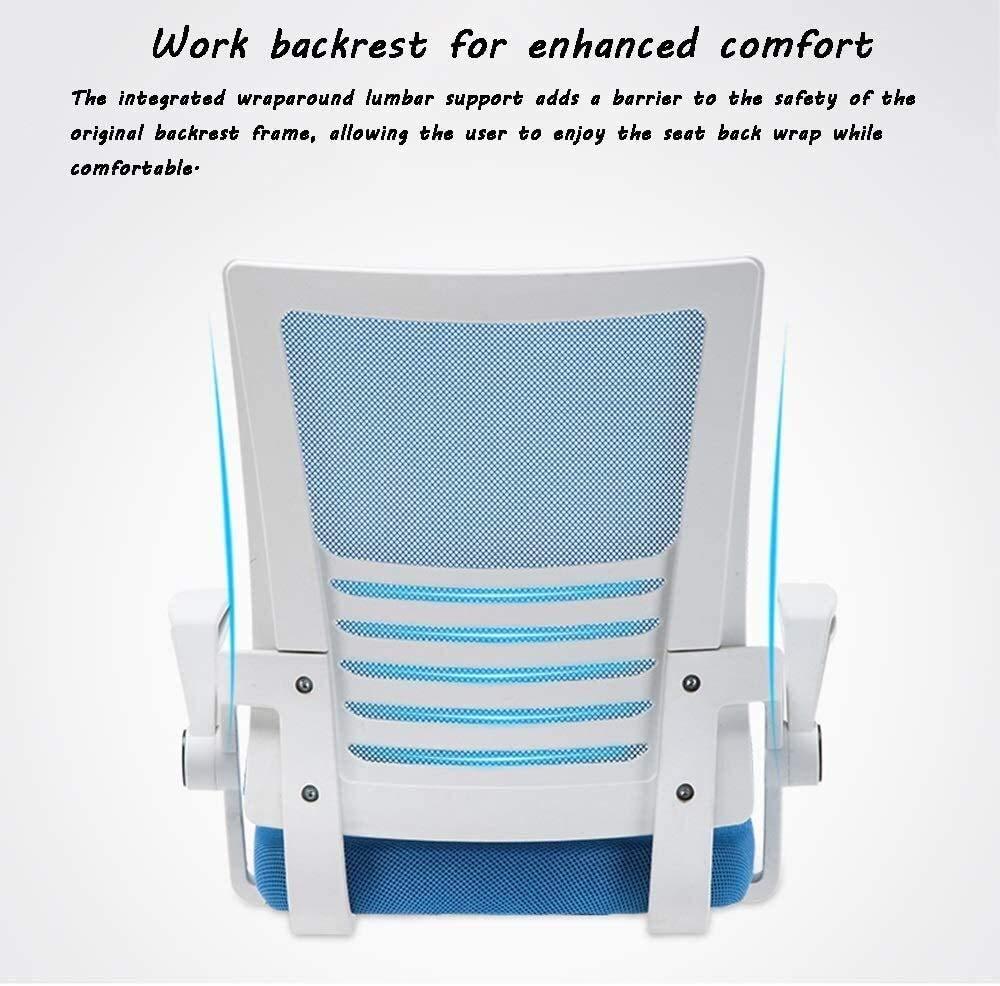 Datorstol, lyft justering verkställande stol roterbar räcke ergonomi hushåll kontorsstol uppskattad lastkapacitet: 150 kg (150 pund) nätryggstöd mobilarmstöd (färg: Blå) BLÅ