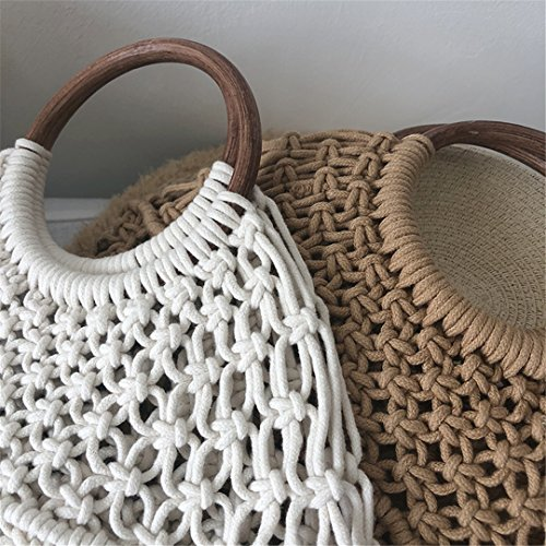 Straw Brown Handle Mimbre Ks1207 Bolsos Summer Handmade with 100 Bolsos With Handle Bohemia De Handbags De Mimbre Tote Knitted Brown Handle1 Millettia w8fqnXR